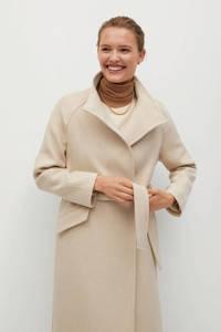 Mango  coat met wol lichtbeige, Lichtbeige