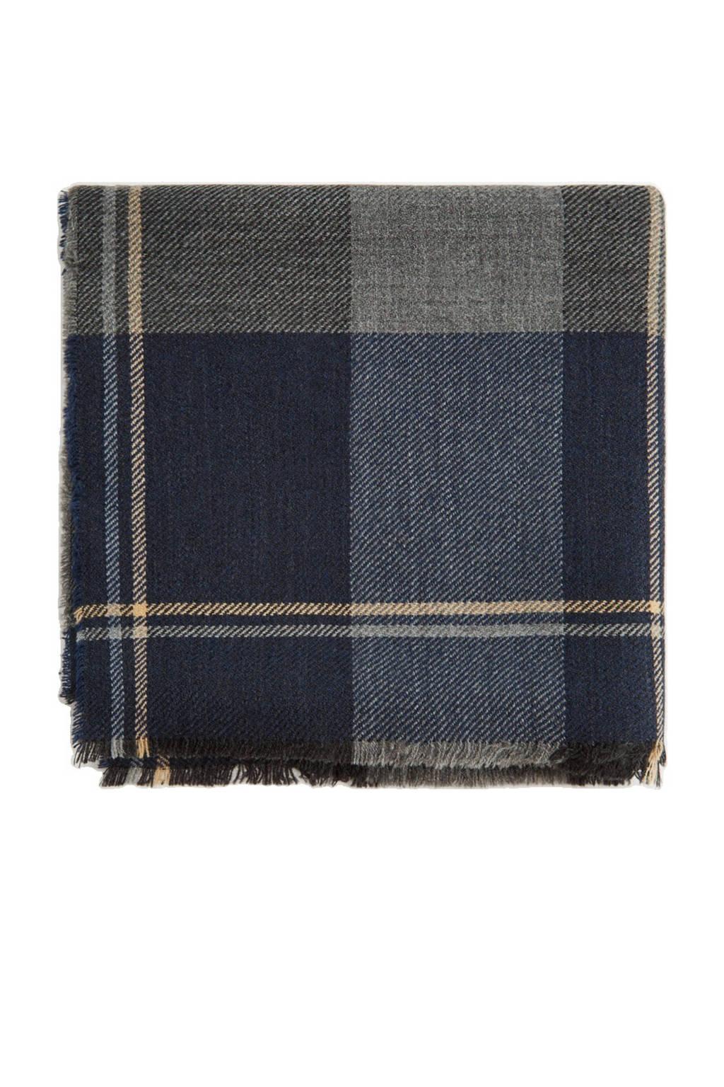 Mango Man geruite sjaal met franjes marine, Marine/blauw/camel