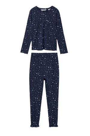 pyjama met sterrendessin donkerblauw/wit