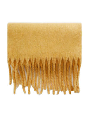 sjaal met franjes geel