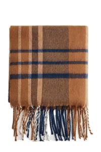 Mango Man geruite sjaal met franjes camel, Camel/blauw