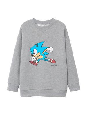 sweater met Sonic printopdruk grijs melange