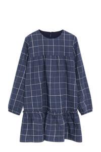 Mango Kids geruite A-lijn jurk middenblauw