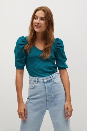 fijngebreide trui petrolblauw