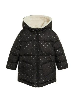 gewatteerde winterjas met stippen zwart/goud