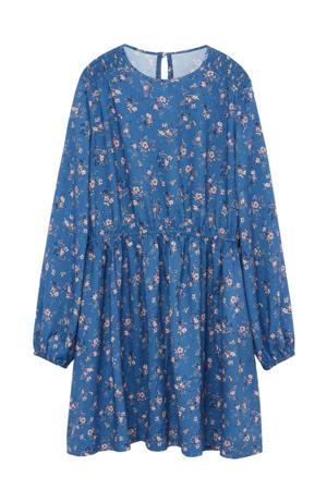 gebloemde A-lijn jurk blauw/ecru