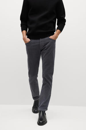 corduroy slim fit broek antraciet