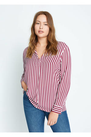 gestreepte blouse donkerrood
