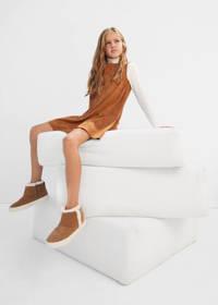 Mango Kids A-lijn jurk met volant middenbruin, Middenbruin