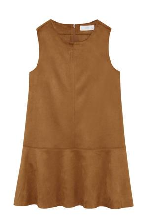 A-lijn jurk met volant middenbruin