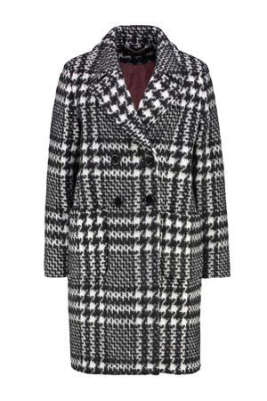 geruite  coat met wol zwart