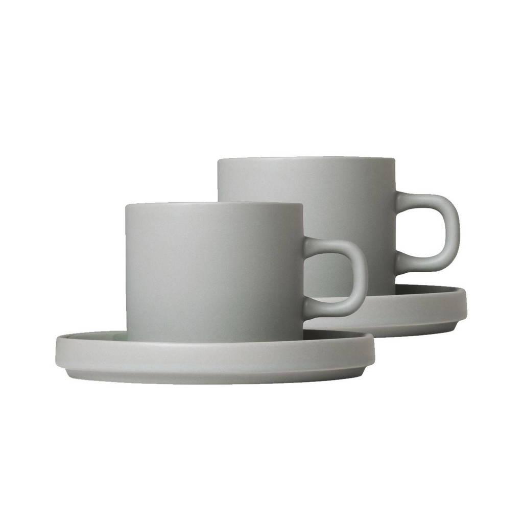 Blomus Koffie Kop & Schotel Pilare Mirage Grey 20 cl) (2 sets)), Grijs