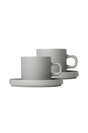 Koffie Kop & Schotel Pilare Mirage Grey 20 cl) (2 sets))