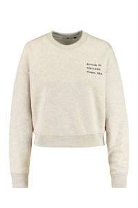 America Today regular fit sweater Sienna met tekst oatmeal, Oatmeal