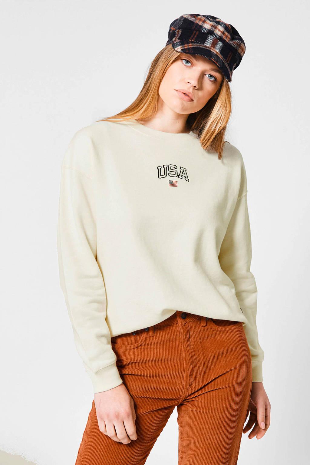 America Today sweater Sonny met printopdruk cream, Cream