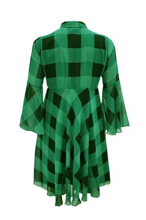 geruite semi-transparante jurk groen/zwart