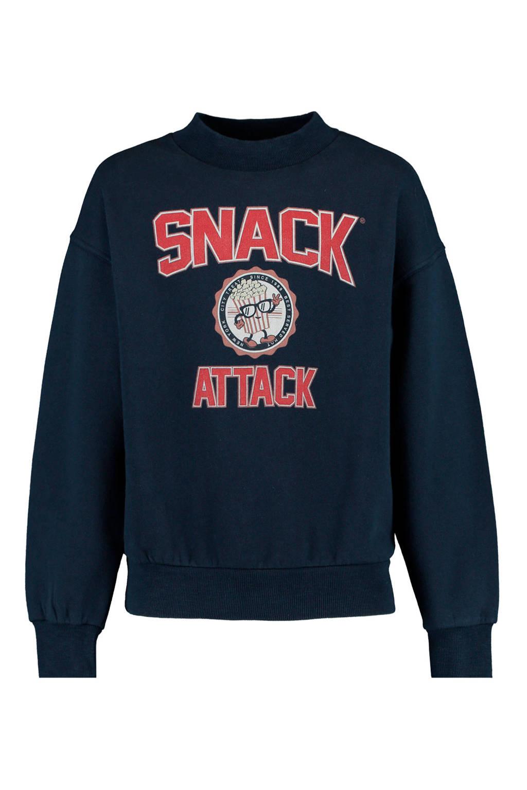 America Today Junior sweater Suzanna met tekst blauw/rood, Blauw/rood