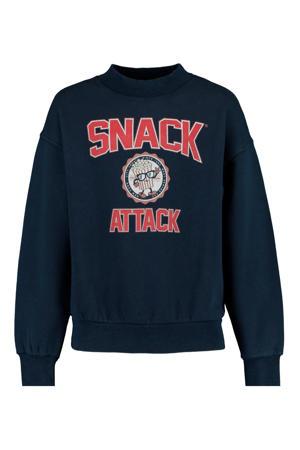 sweater Suzanna met tekst blauw/rood