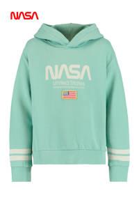 America Today Junior hoodie Star met tekst mintgroen/ecru, Mintgroen/ecru