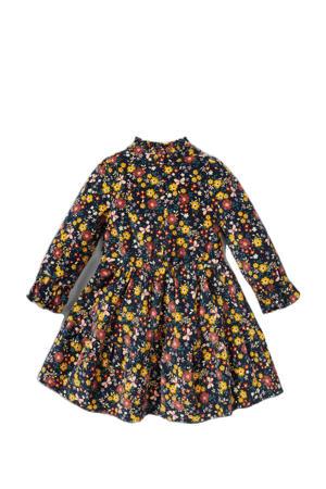 jurk met all over print en ruches donkerblauw