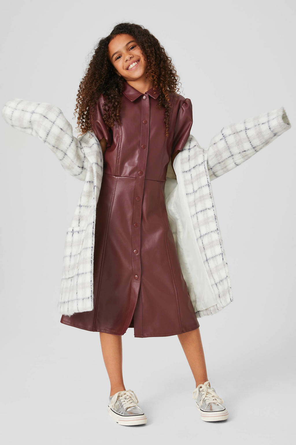 C&A jurk donkerrood, Donkerrood