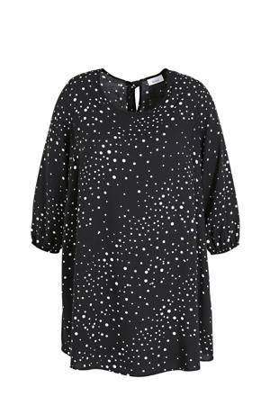 semi-transparante tuniek met stippen en open detail zwart/wit