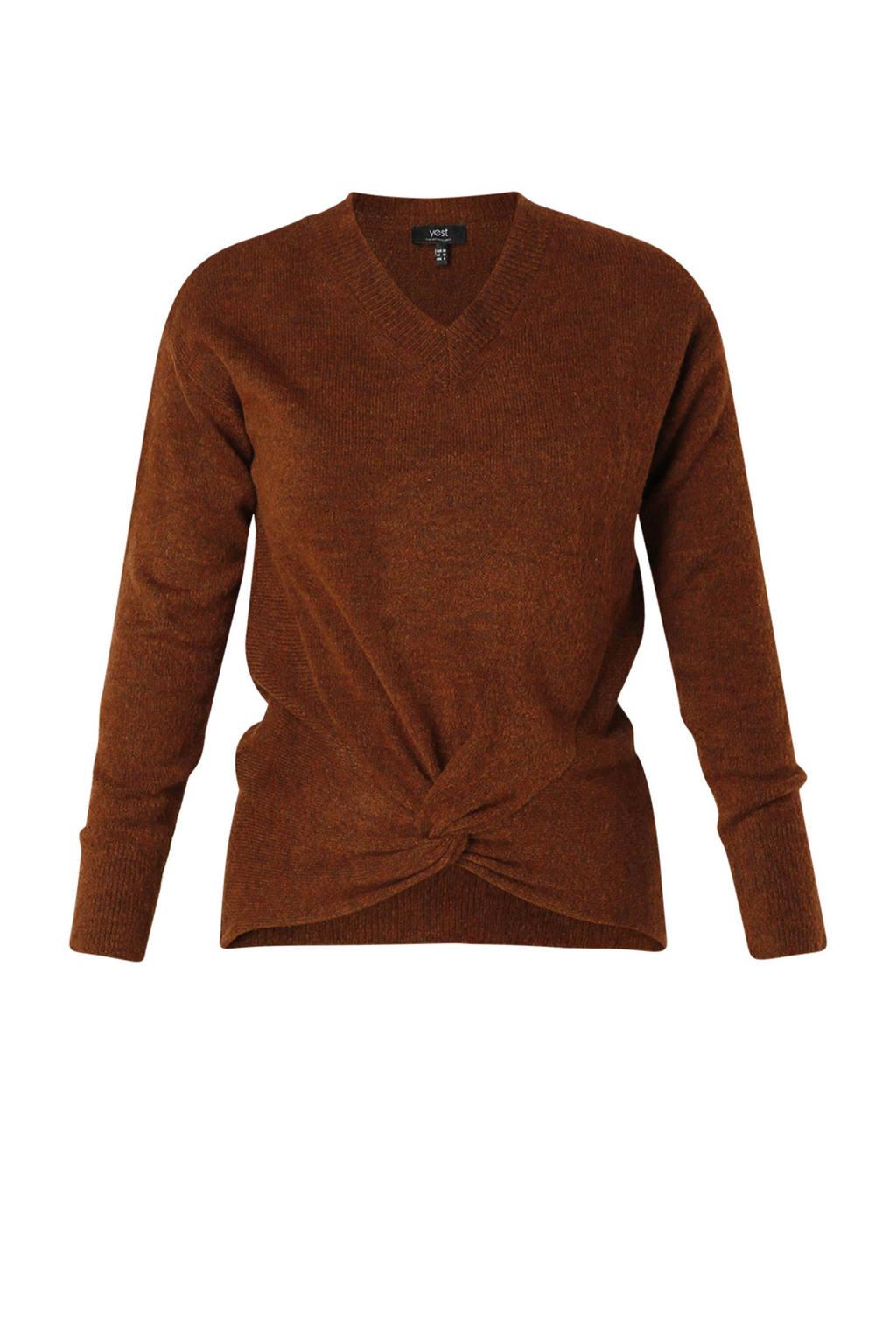 Yest gemêleerde fijngebreide trui Carolina roodbruin, Roodbruin