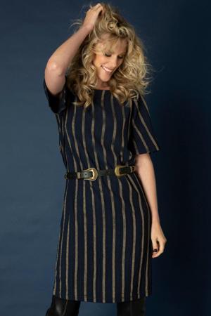 gestreepte jurk Caitelynne donkerblauw/goud