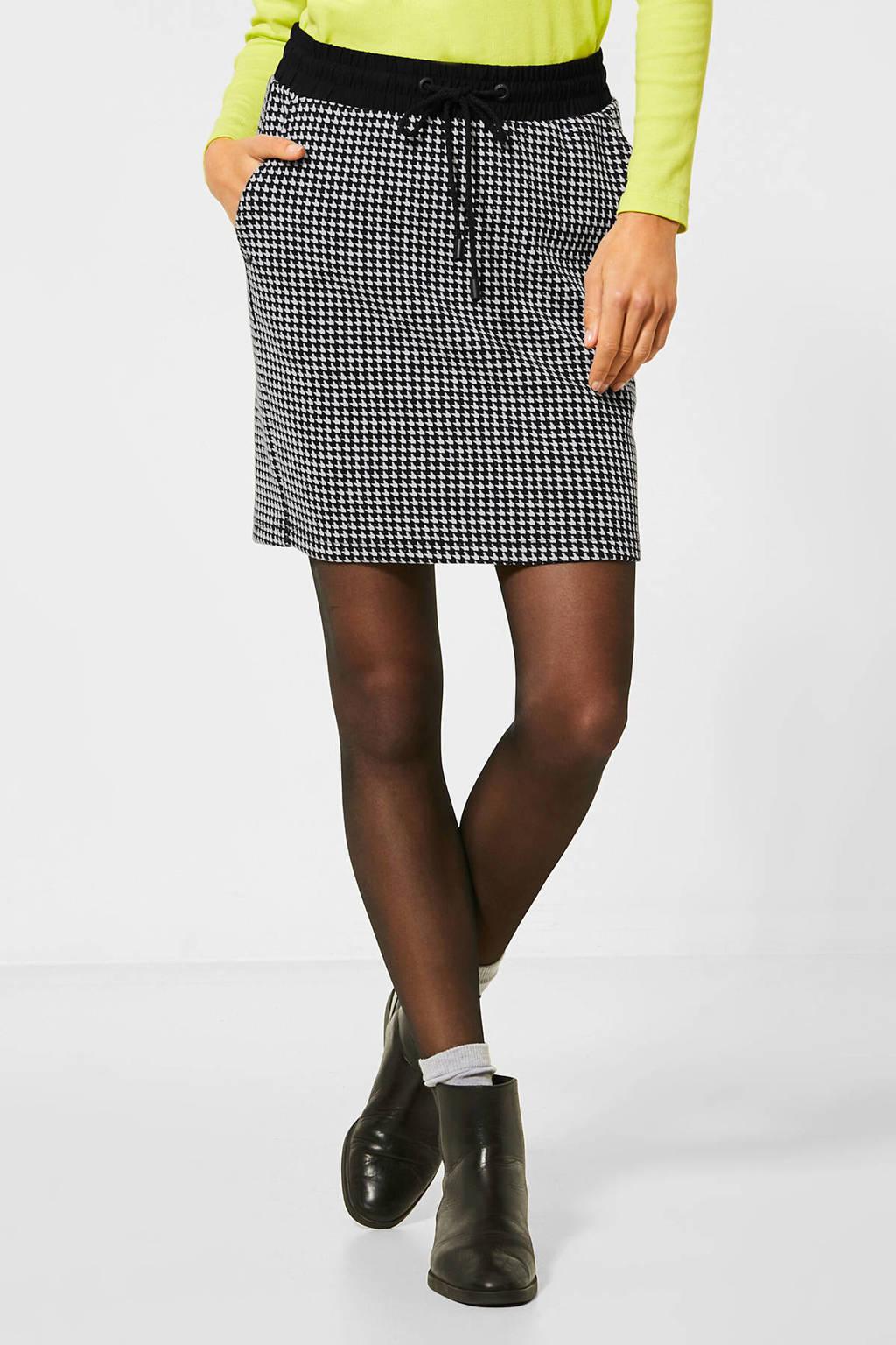 CECIL rok met pied-de-poule zwart/wit, Zwart/wit