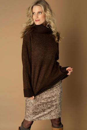 coated rok Carlotta met all over print en glitters ecru/bruin/zwart