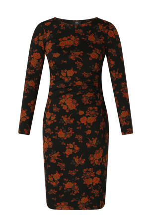 gebloemde jurk Carmen  zwart/rood/goud