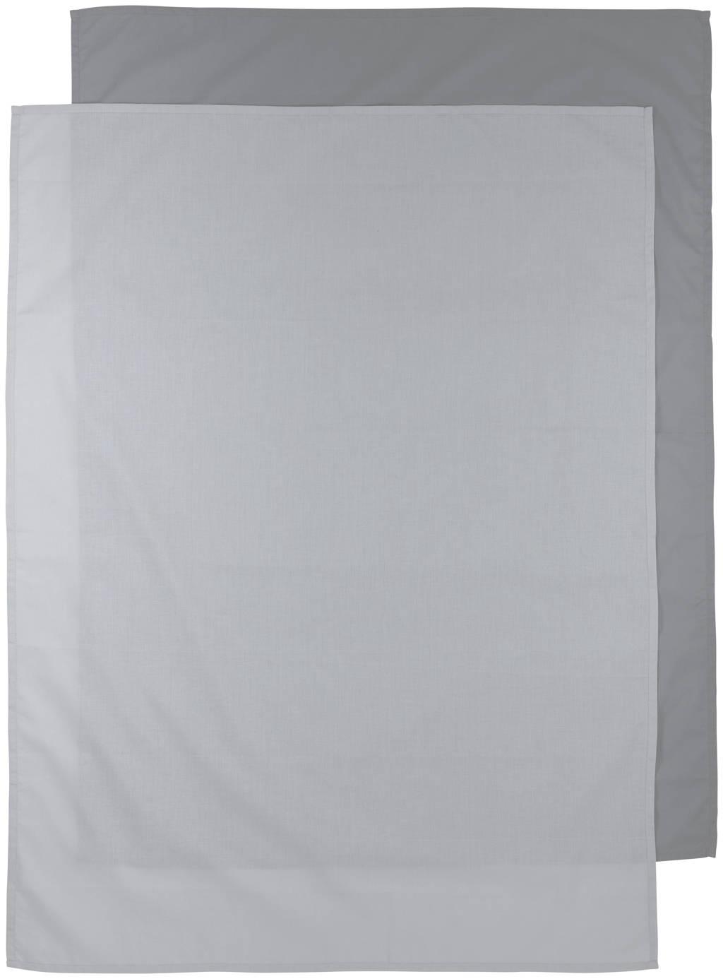 Meyco baby wieglaken - set van 2 75x100 cm Uni grijs/lichtgrijs, Grijs