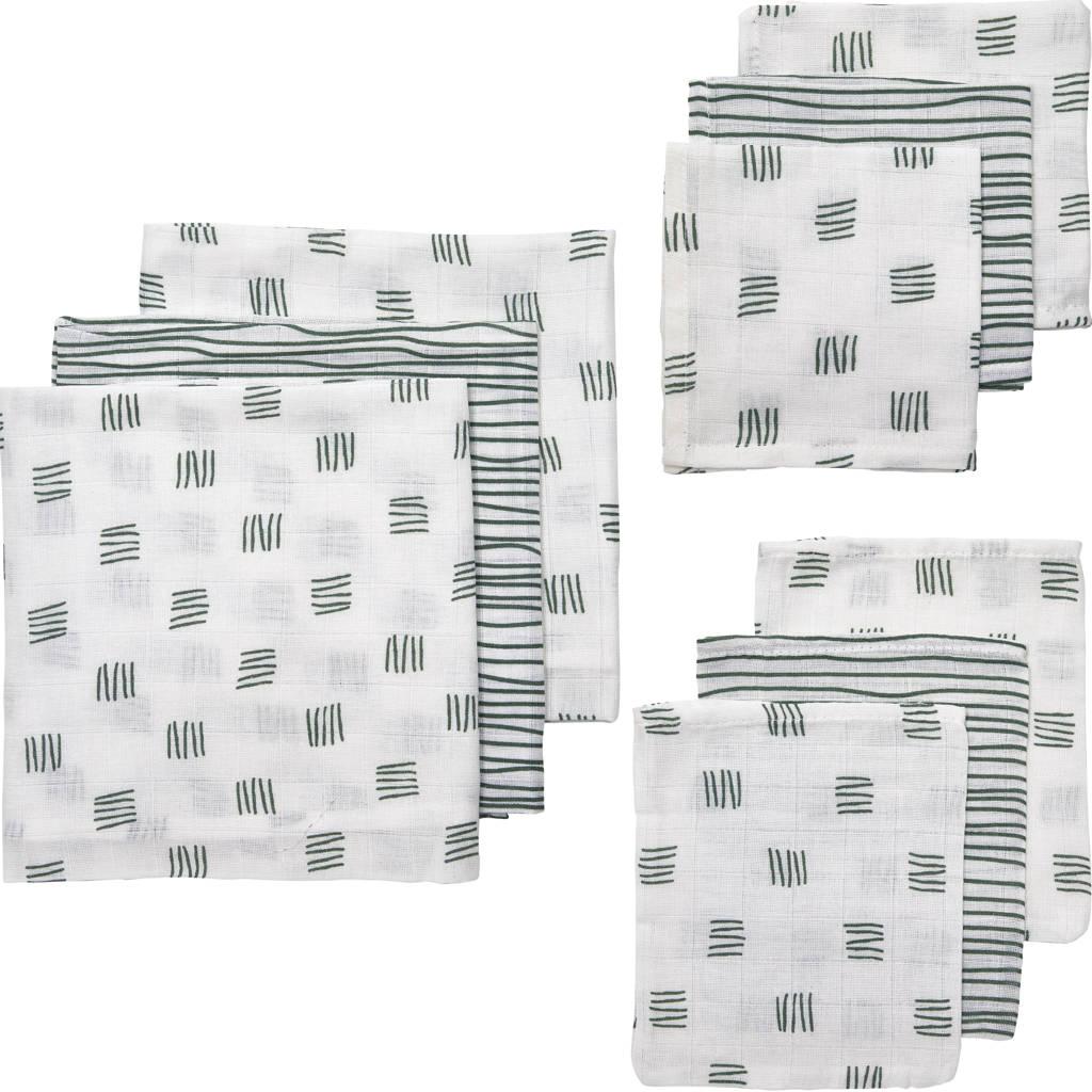 Meyco hydrofiele starterset Block stripe - set van 3x3 groen, Donkergroen