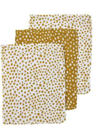 hydrofiel washandje - set van 3 Cheetah 17x20 cm honey gold