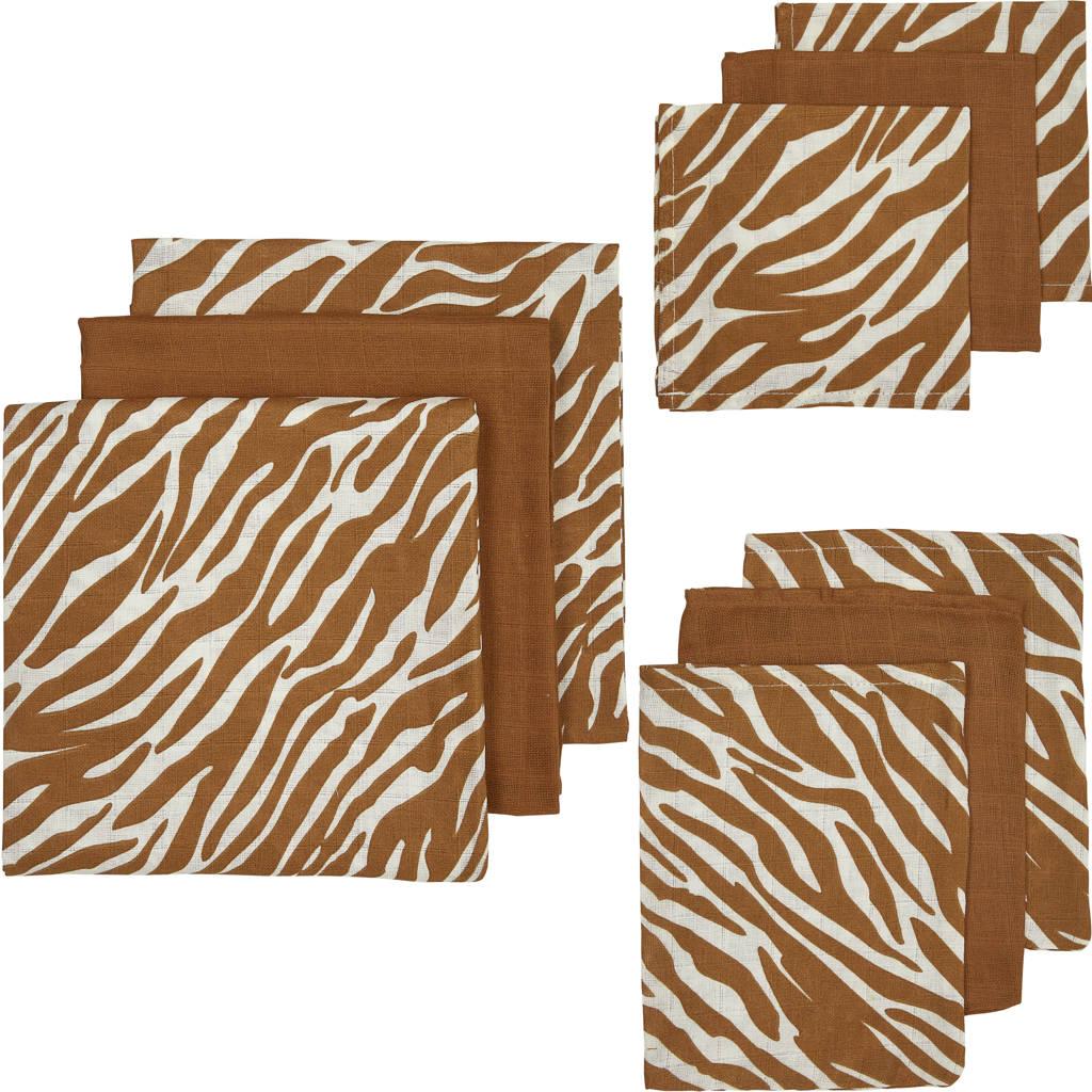 Meyco hydrofiel starterset zebra-uni - set van 3x3 camel, Camel