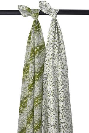 hydrofiele swaddle Snake-Cheetah - set van 2 120x120 cm avocado