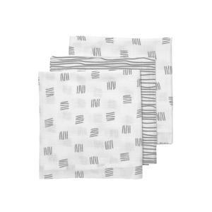 hydrofiele luier Block stripe - set van 3 70x70 cm grijs