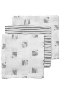 Meyco hydrofiel monddoekje - set van 3 Block stripe 30x30 cm grijs, Grijs