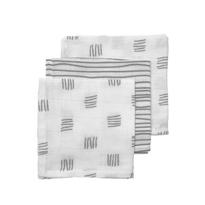 hydrofiel monddoekje - set van 3 Block stripe 30x30 cm grijs