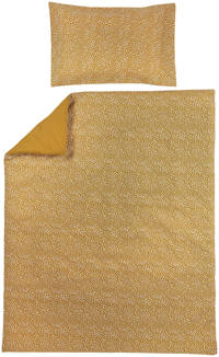 Meyco ledikant dekbedovertrek + kussensloop 100x135 cm Cheetah/Uni honey gold, Goud