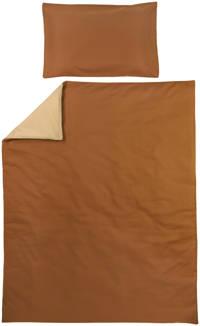 Meyco ledikant dekbedovertrek + kussensloop 120x150 cm Uni camel/warm sand, Camel/Zand