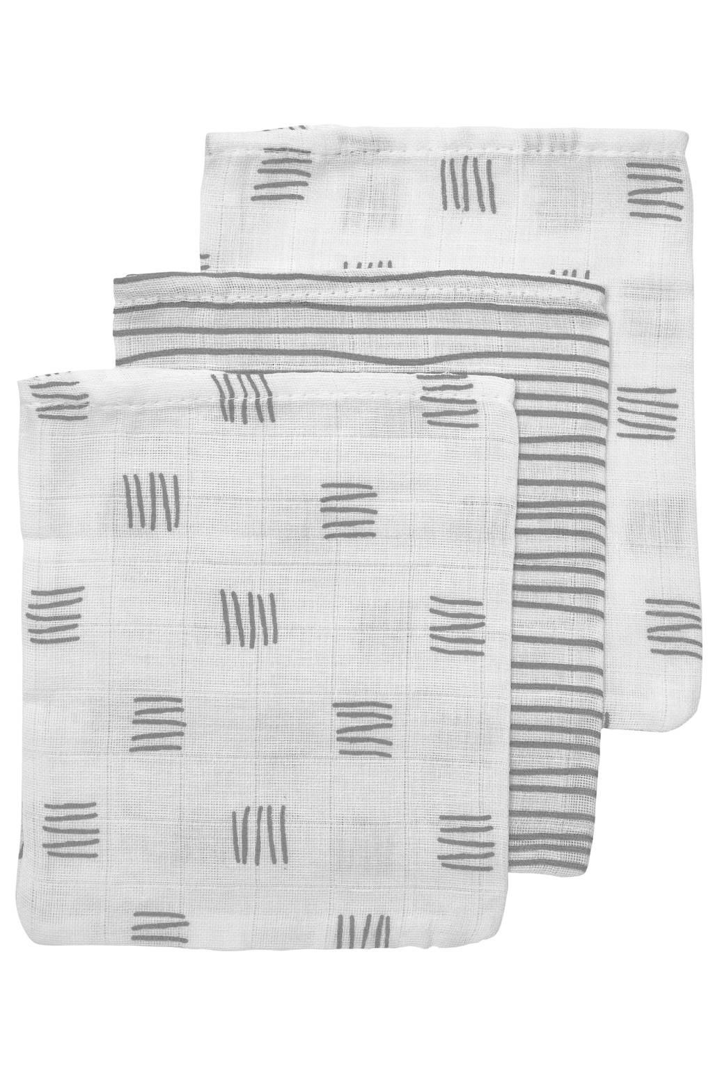 Meyco hydrofiel washandje - set van 3 Block stripe 17x20 cm grijs, Wit/grijs
