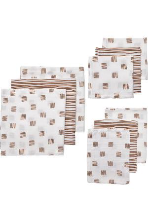 hydrofiele starterset Block stripe - set van 3x3 wit/camel