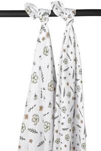 Meyco hydrofiele luiers - set van 2 Floral GOTS 120x120 cm wit/multi, Wit/multi