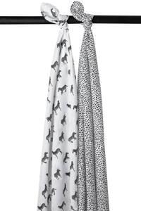 Meyco hydrofiele luiers - set van 2 Zebra animal/cheetah wit/zwart, Wit/zwart