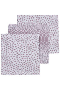 Meyco hydrofiel monddoekje - set van 3 Snake/Cheetah 30x30 cm lilac, Lila