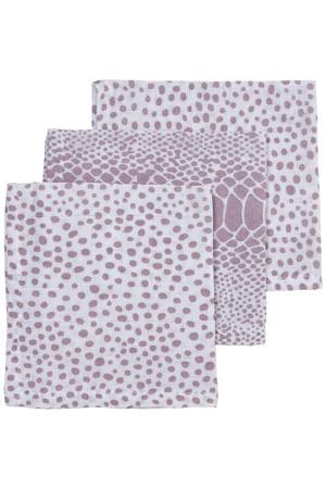 hydrofiel monddoekje - set van 3 Snake/Cheetah 30x30 cm lilac