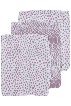 hydrofiel washandje - set van 3 Snake/Cheetah 17x20 cm lilac