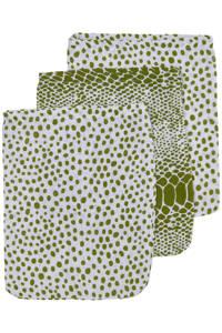 Meyco hydrofiel washandje - set van 3 Snake/Cheetah 17x20 cm avocado, Groen