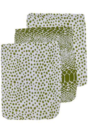 hydrofiel washandje - set van 3 Snake/Cheetah 17x20 cm avocado